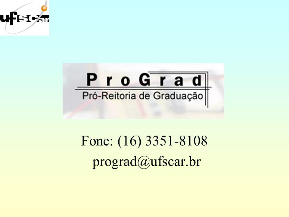 Fone: (16) 3351-8108 prograd@ufscar.br