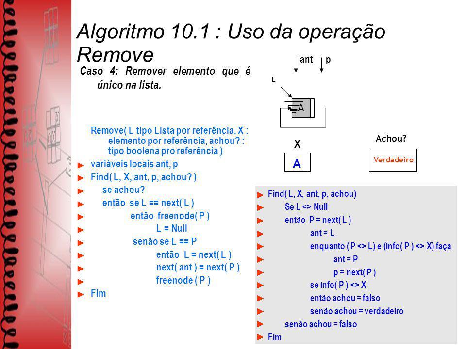 Algoritmo 10.1 : Uso da operação Remove