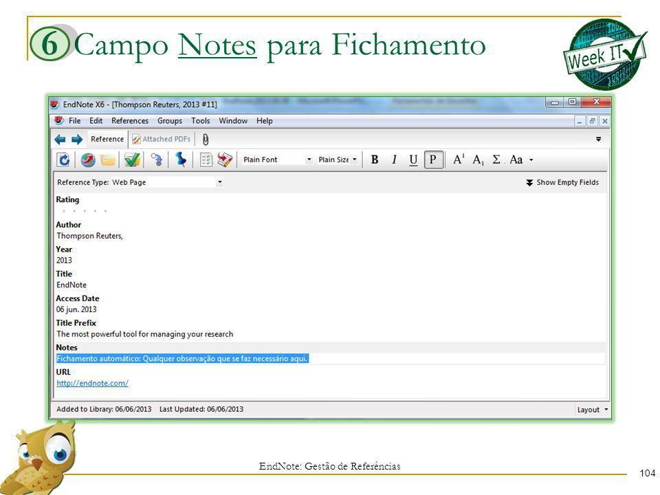 Campo Notes para Fichamento