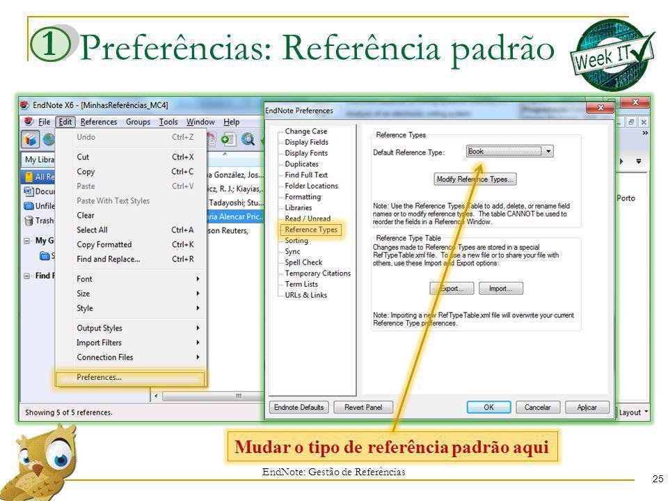 Preferências: Referência padrão