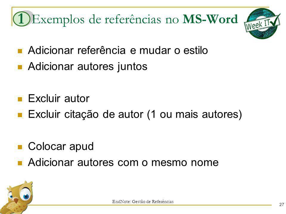 Exemplos de referências no MS-Word