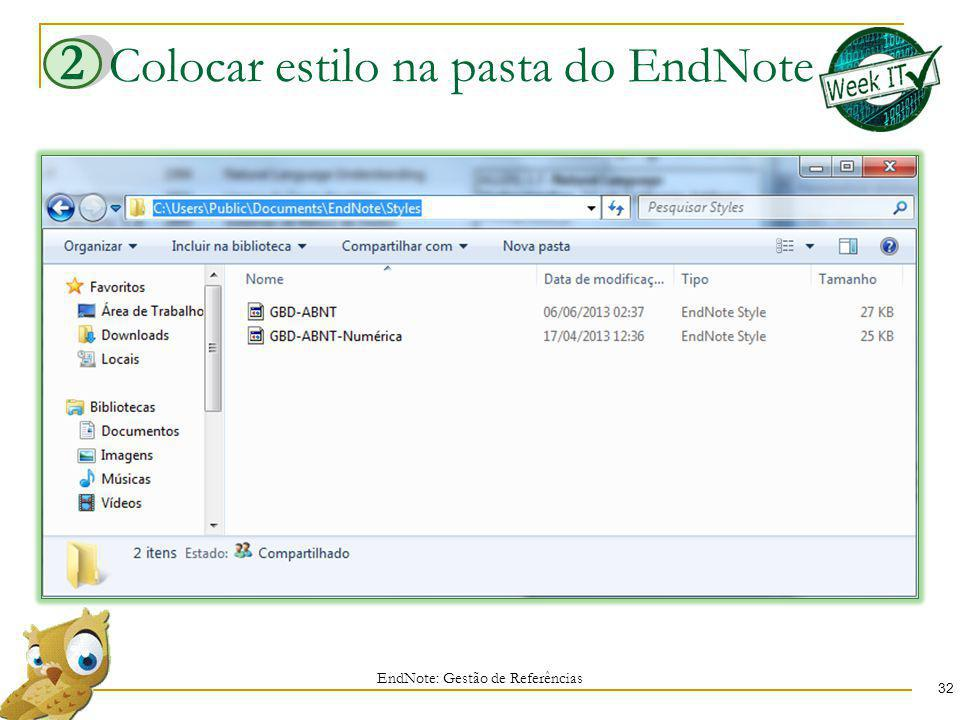 Colocar estilo na pasta do EndNote