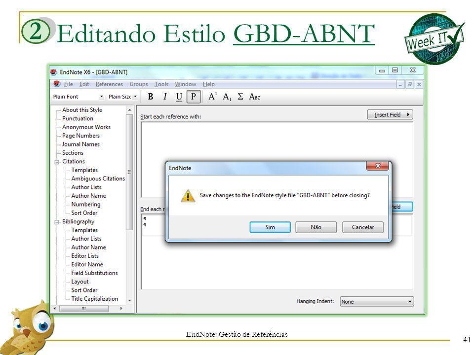Editando Estilo GBD-ABNT