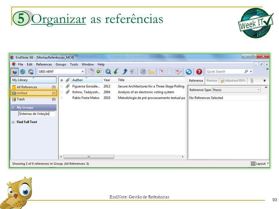 Organizar as referências