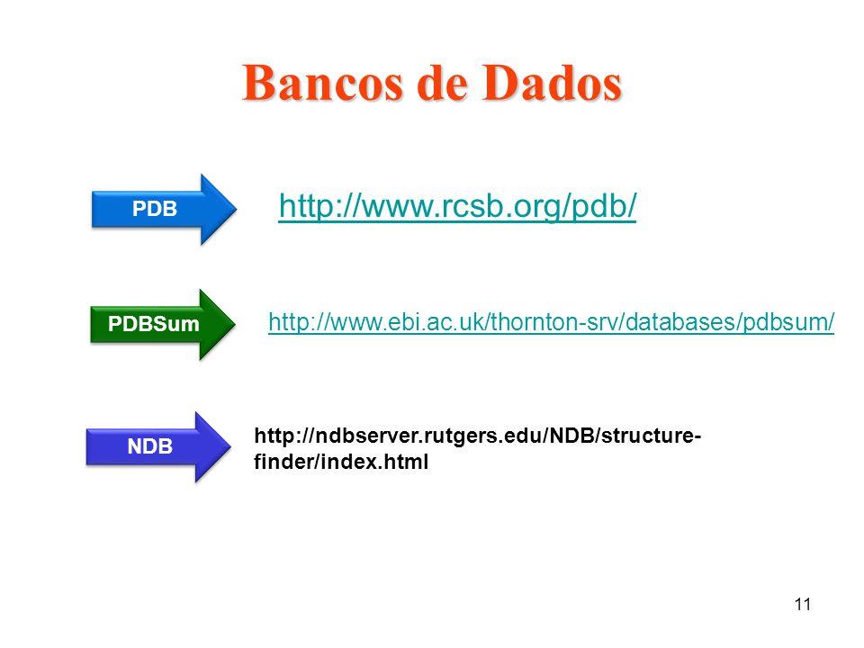 Bancos de Dados http://www.rcsb.org/pdb/