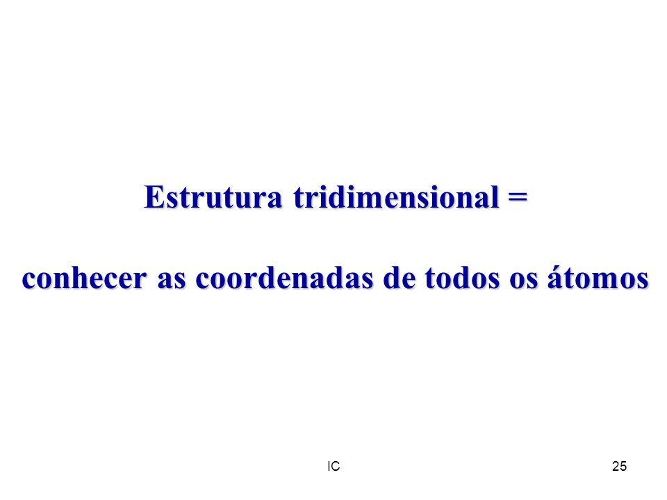 Estrutura tridimensional = conhecer as coordenadas de todos os átomos