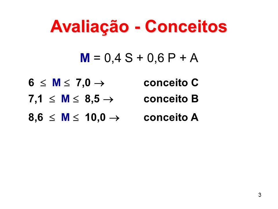 Avaliação - Conceitos M = 0,4 S + 0,6 P + A 6  M  7,0  conceito C