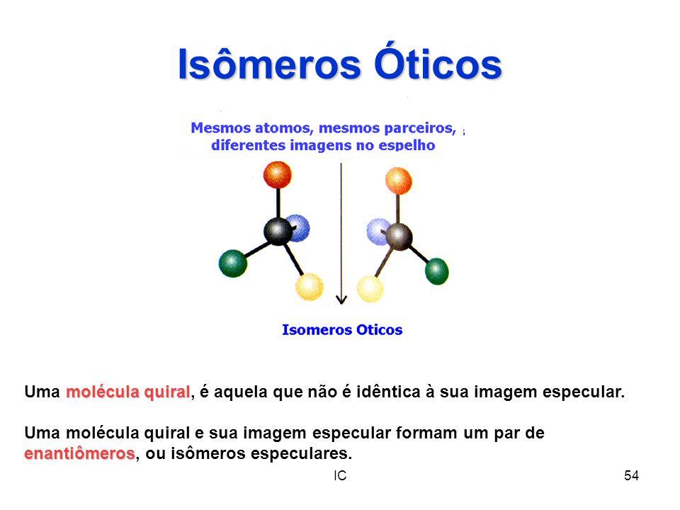 Isômeros Óticos Uma molécula quiral, é aquela que não é idêntica à sua imagem especular.