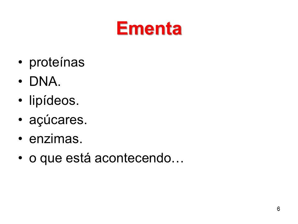 Ementa proteínas DNA. lipídeos. açúcares. enzimas.