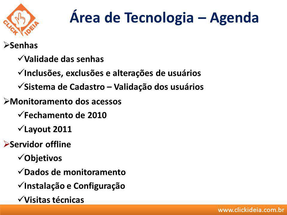 Área de Tecnologia – Agenda