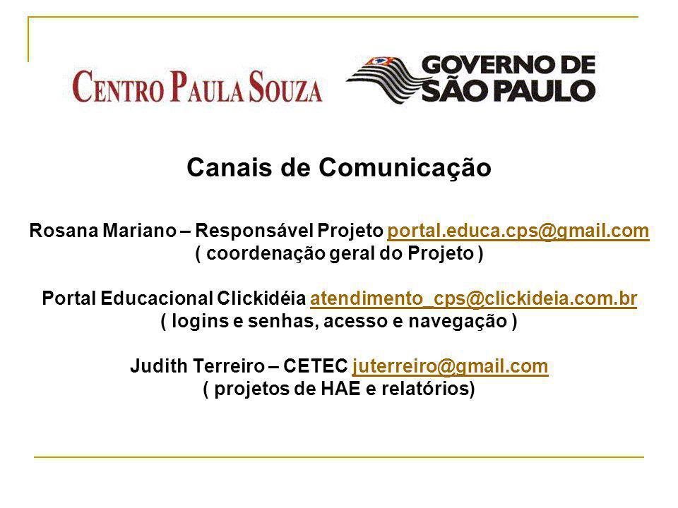Canais de Comunicação Rosana Mariano – Responsável Projeto portal