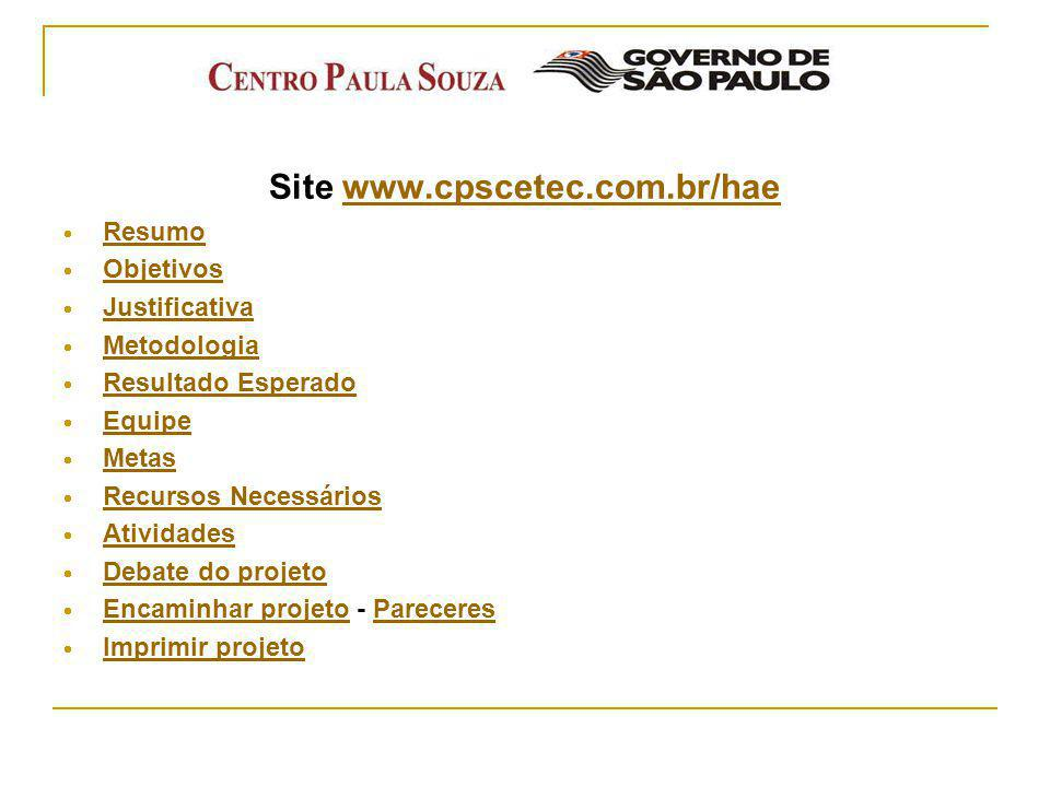 Site www.cpscetec.com.br/hae