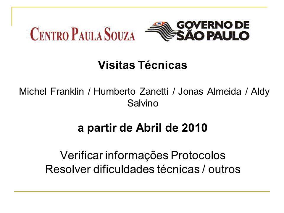Visitas Técnicas Michel Franklin / Humberto Zanetti / Jonas Almeida / Aldy Salvino a partir de Abril de 2010 Verificar informações Protocolos Resolver dificuldades técnicas / outros