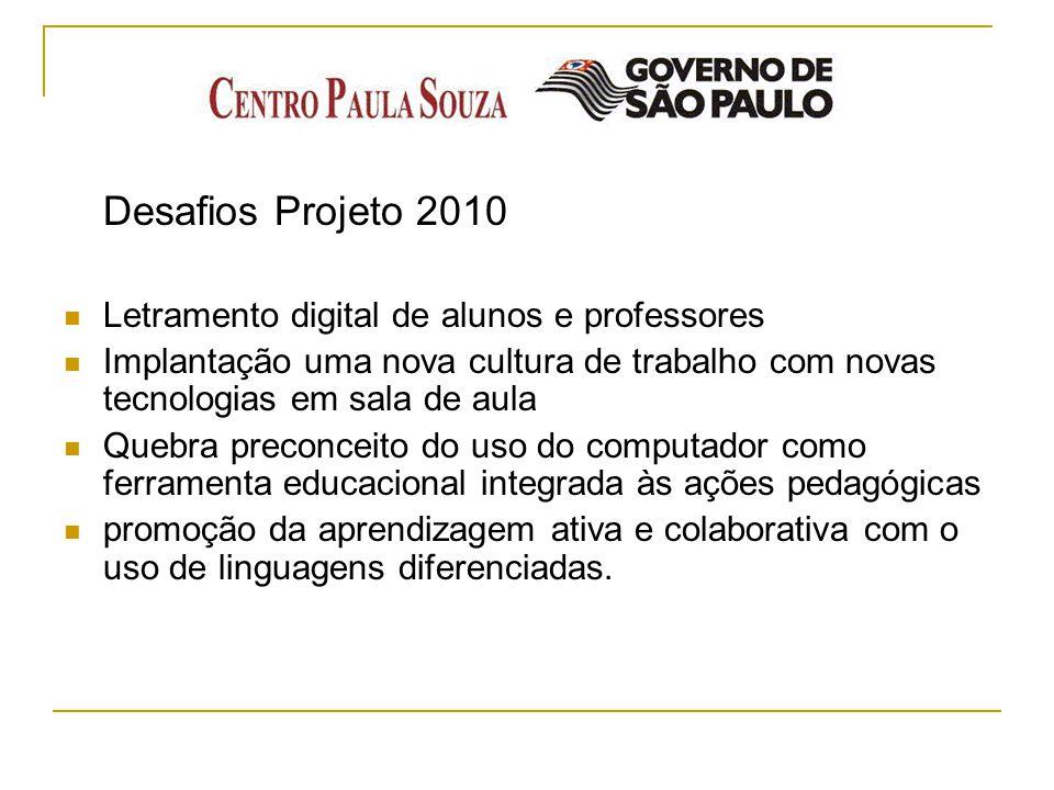 Desafios Projeto 2010 Letramento digital de alunos e professores. Implantação uma nova cultura de trabalho com novas tecnologias em sala de aula.