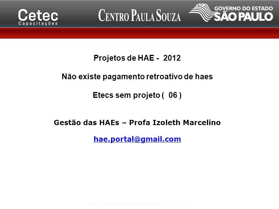 Não existe pagamento retroativo de haes Etecs sem projeto ( 06 )