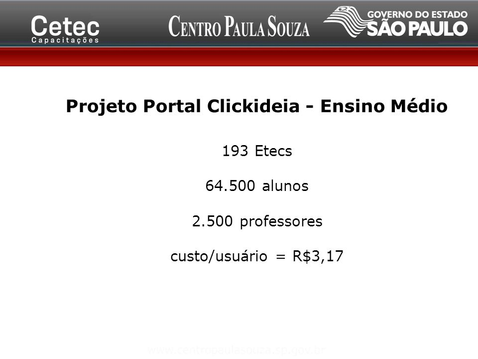 Projeto Portal Clickideia - Ensino Médio 193 Etecs