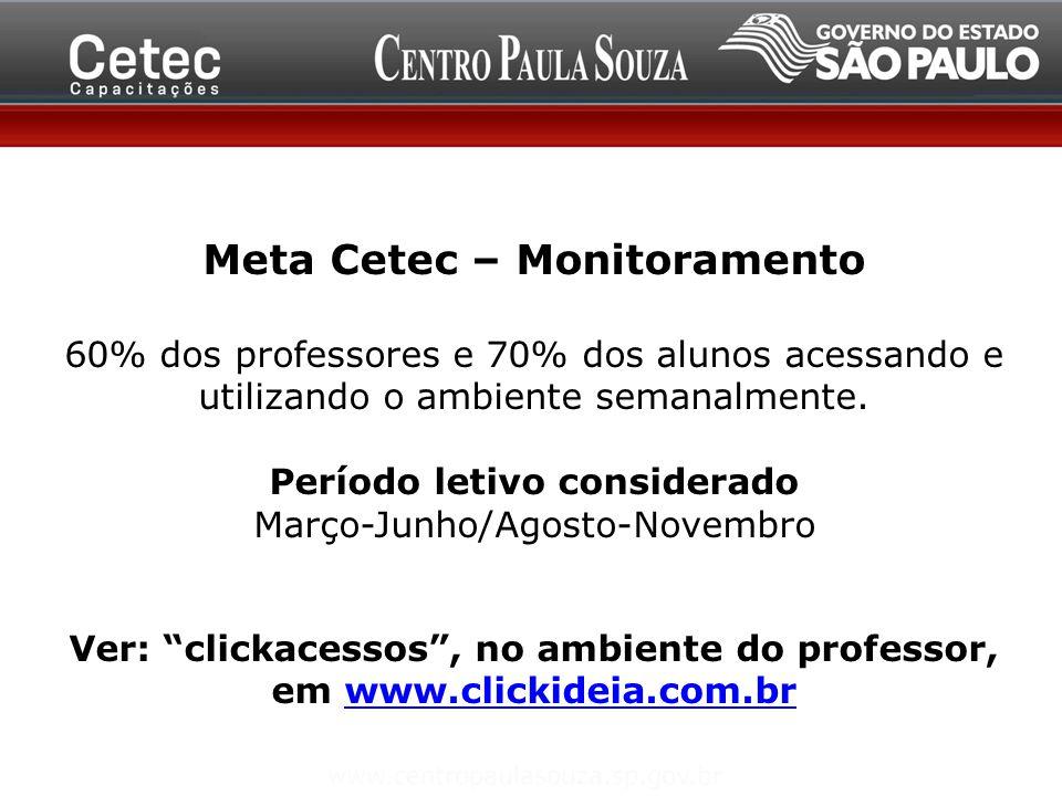 Meta Cetec – Monitoramento Período letivo considerado