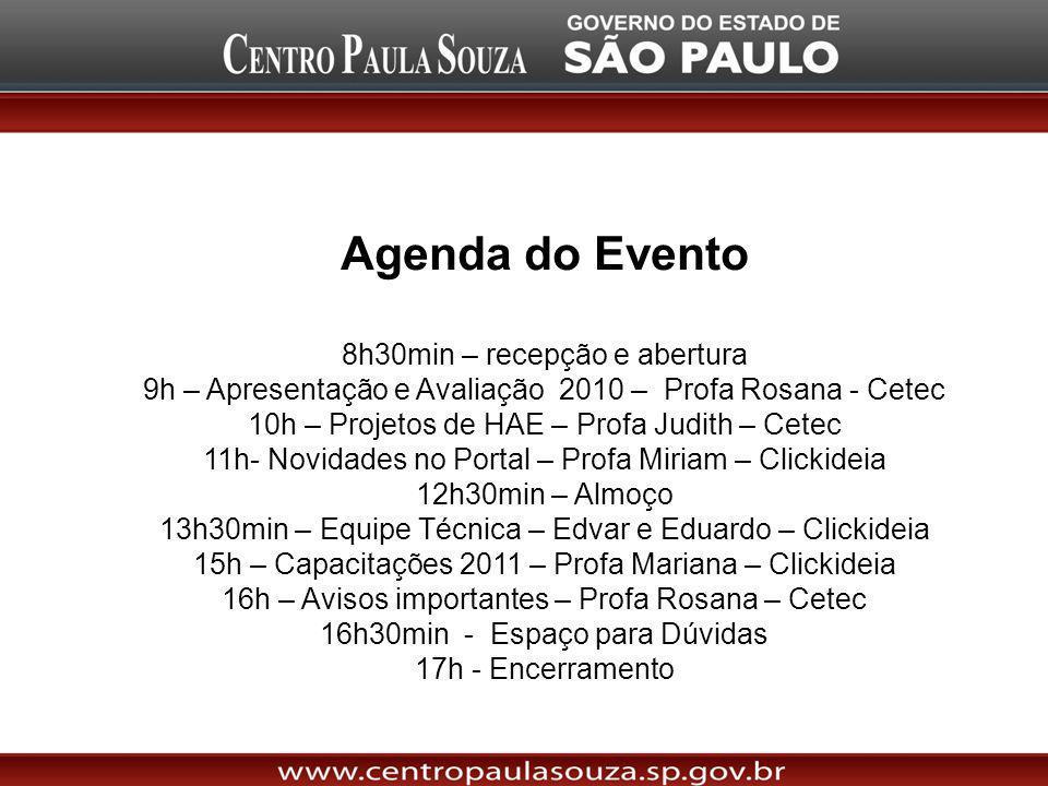 Agenda do Evento 8h30min – recepção e abertura