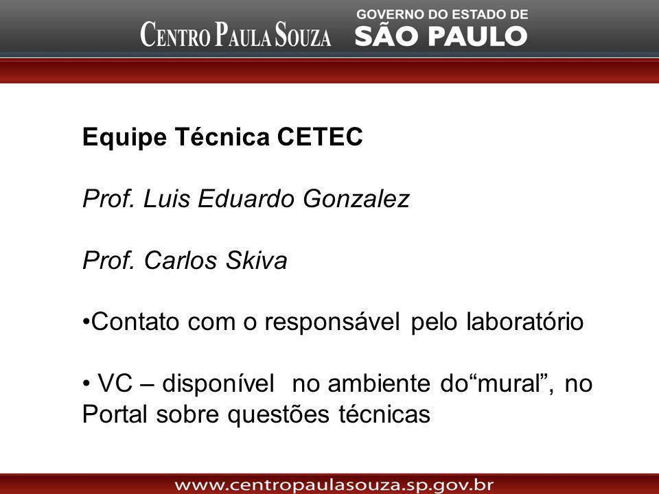 Equipe Técnica CETEC Prof. Luis Eduardo Gonzalez. Prof. Carlos Skiva. Contato com o responsável pelo laboratório.