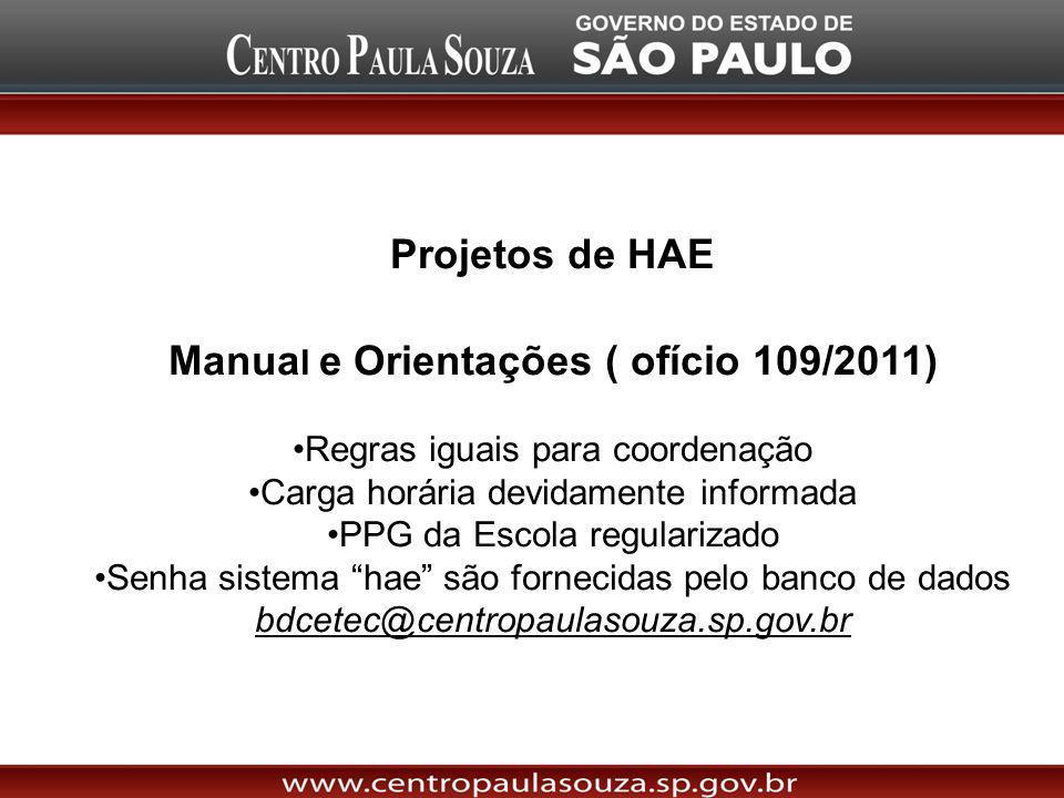 Manual e Orientações ( ofício 109/2011)