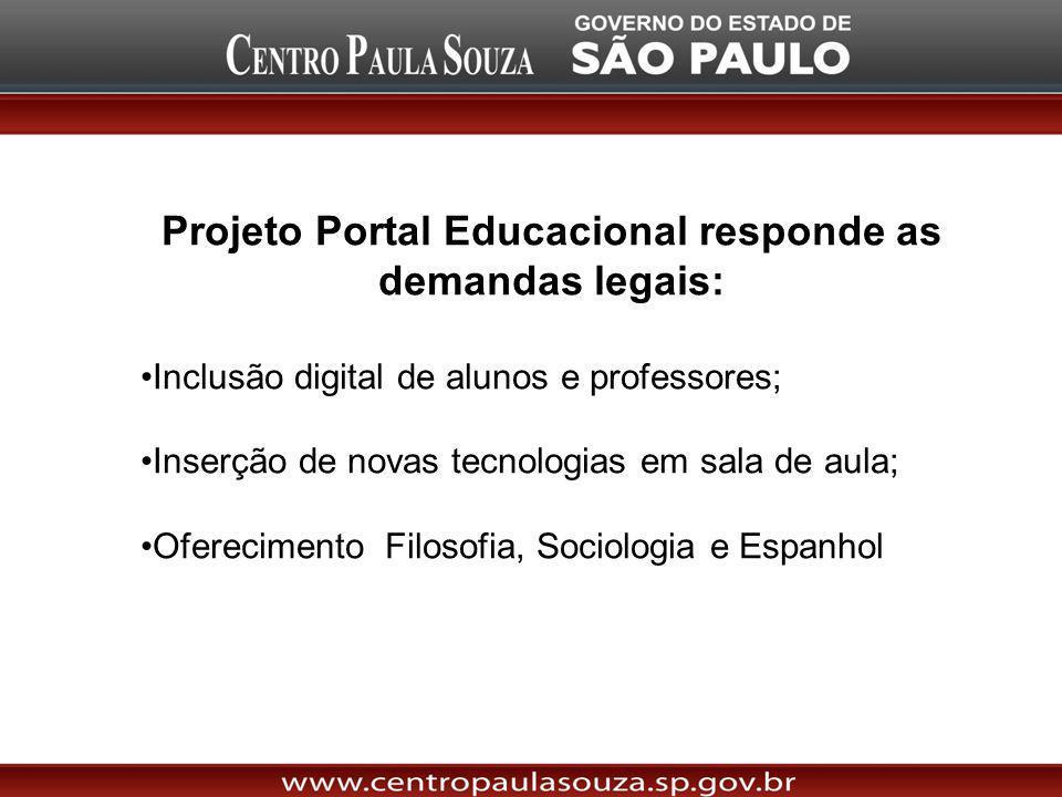Projeto Portal Educacional responde as demandas legais: