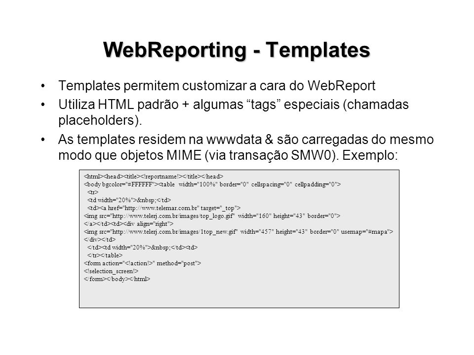 WebReporting - Templates