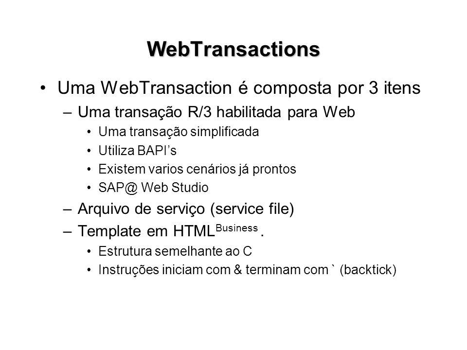 WebTransactions Uma WebTransaction é composta por 3 itens