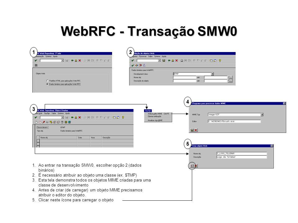 WebRFC - Transação SMW0 1. 2. 4. 3. P. 5. 1. Ao entrar na transação SMW0, escolher opção 2 (dados binários)