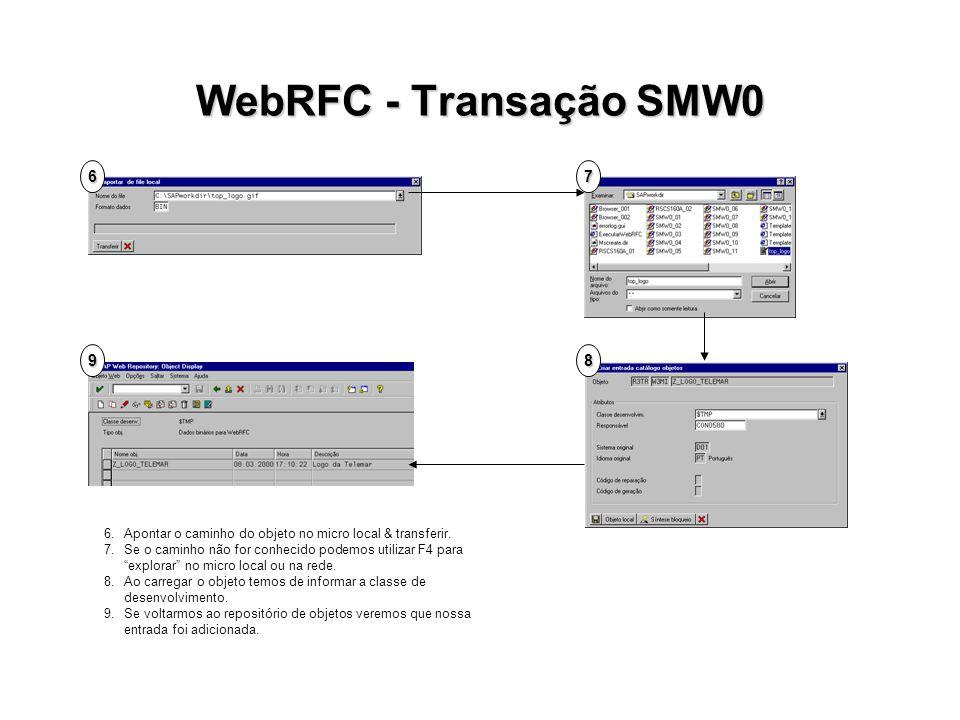 WebRFC - Transação SMW0 6. 7. 9. 8. 6. Apontar o caminho do objeto no micro local & transferir.