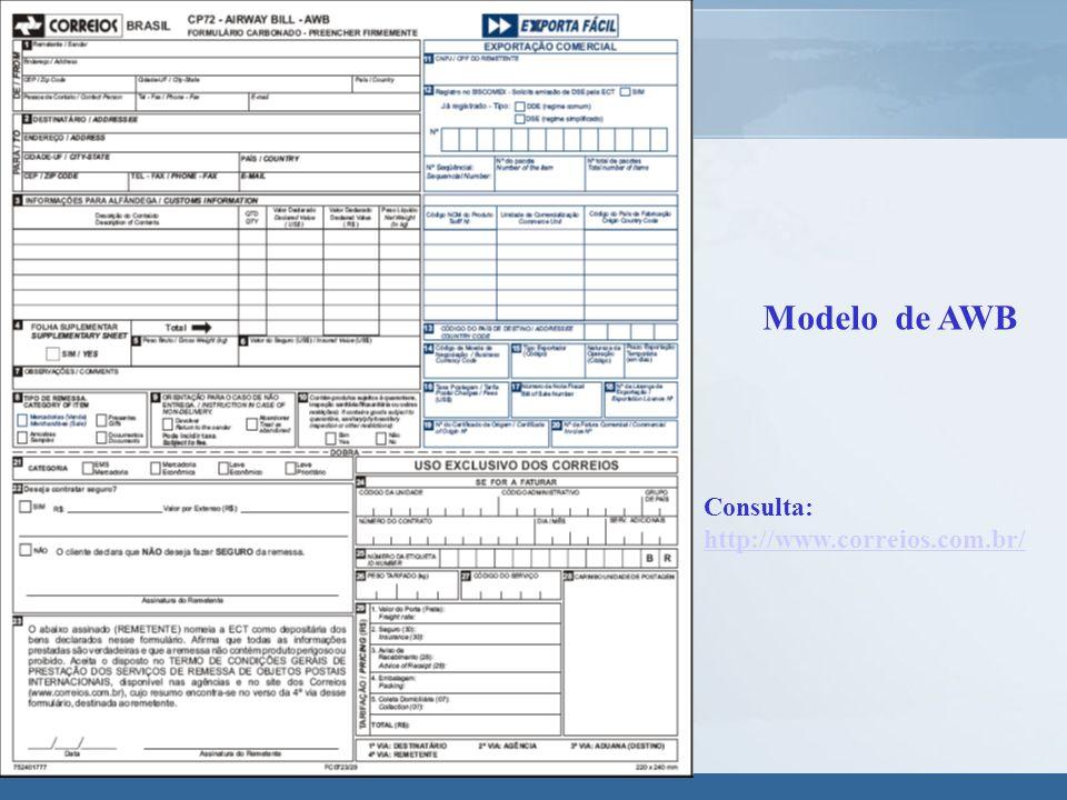 Modelo de AWB Consulta: http://www.correios.com.br/