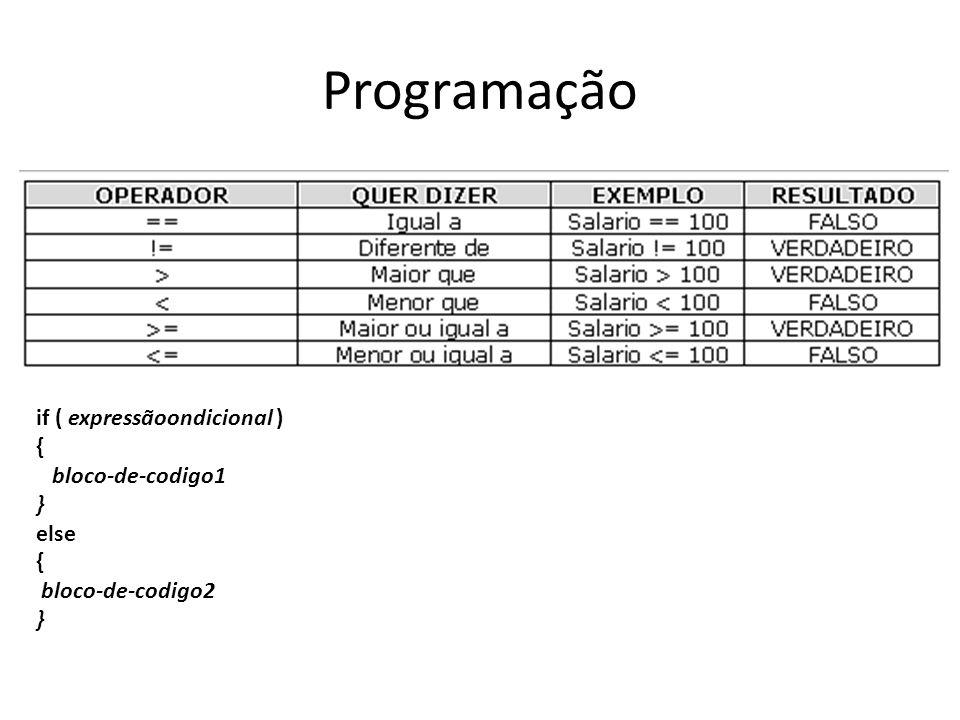 Programação if ( expressãoondicional ) { bloco-de-codigo1 } else
