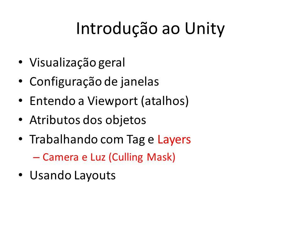 Introdução ao Unity Visualização geral Configuração de janelas