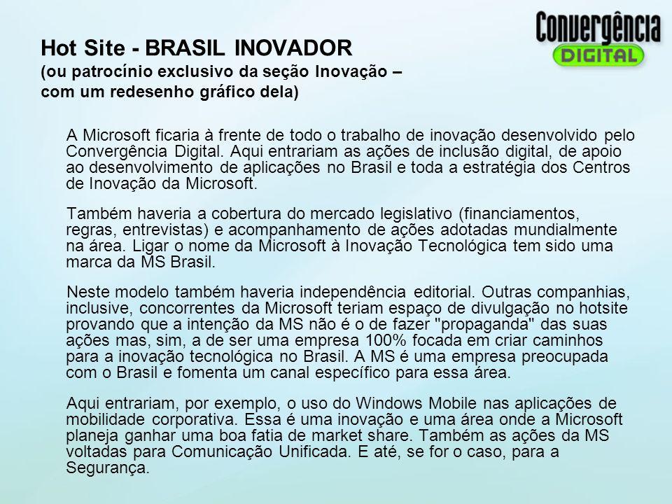 Hot Site - BRASIL INOVADOR (ou patrocínio exclusivo da seção Inovação – com um redesenho gráfico dela)