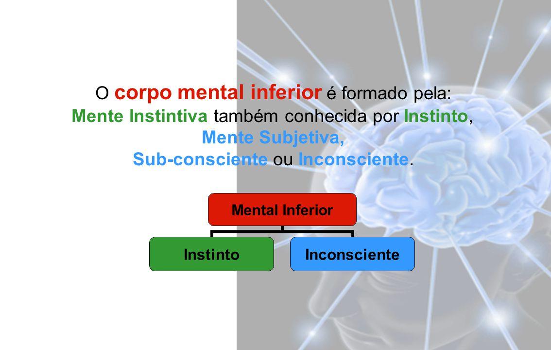 O corpo mental inferior é formado pela: Mente Instintiva também conhecida por Instinto, Mente Subjetiva, Sub-consciente ou Inconsciente.