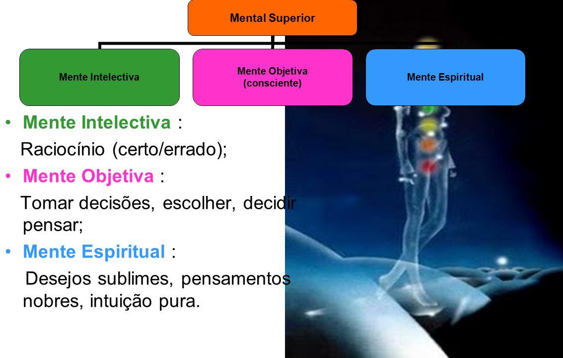 Mente Intelectiva : Raciocínio (certo/errado); Mente Objetiva : Tomar decisões, escolher, decidir pensar;