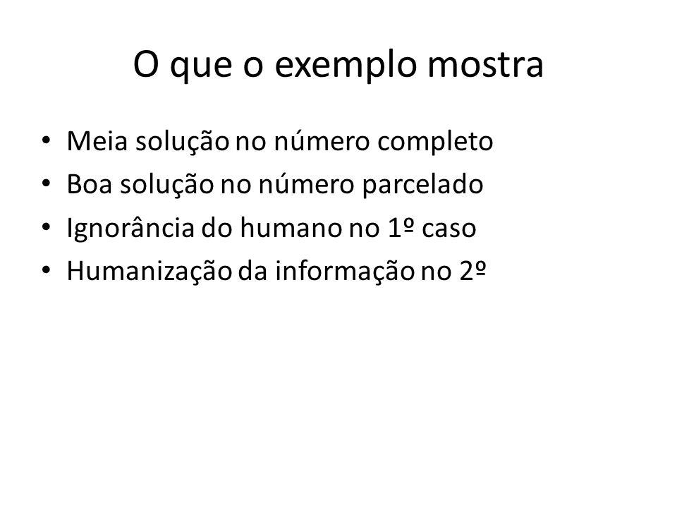 O que o exemplo mostra Meia solução no número completo