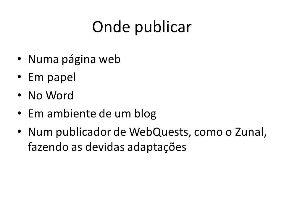 Onde publicar Numa página web Em papel No Word Em ambiente de um blog