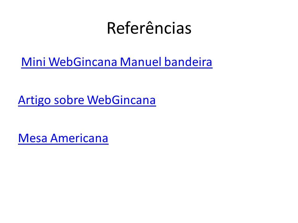 Referências Mini WebGincana Manuel bandeira Artigo sobre WebGincana Mesa Americana