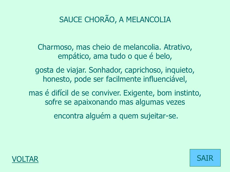 SAUCE CHORÃO, A MELANCOLIA