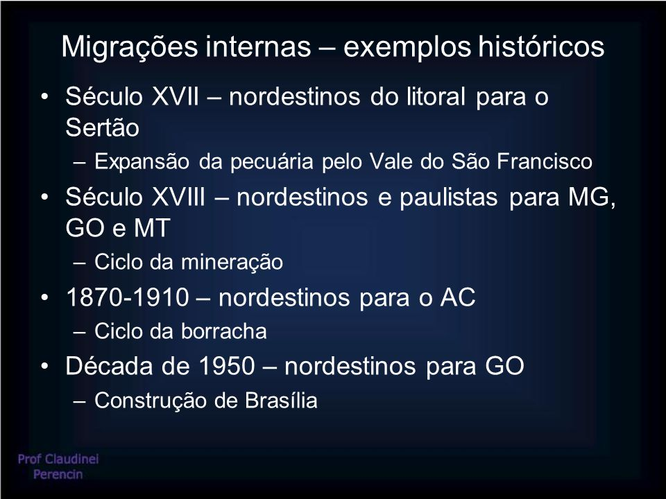 Migrações internas – exemplos históricos