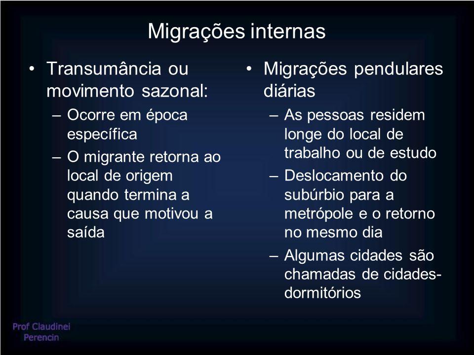 Migrações internas Transumância ou movimento sazonal: