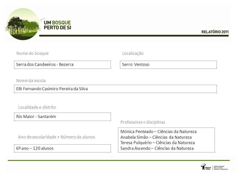 Nome do bosque Localização. Serra dos Candeeiros - Bezerra. Serro Ventoso. Nome da escola. EBI Fernando Casimiro Pereira da Silva.