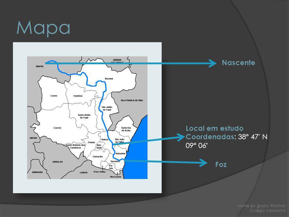 Mapa Nascente Local em estudo Coordenadas: 38º 47 N 09º 06 Foz
