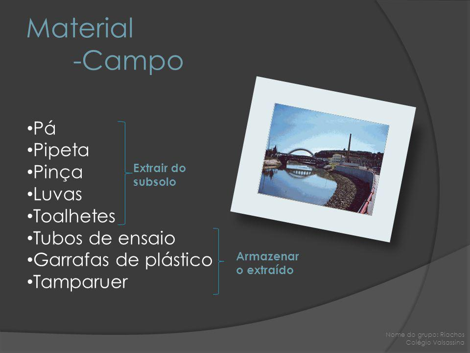 Material -Campo Pá Pipeta Pinça Luvas Toalhetes Tubos de ensaio