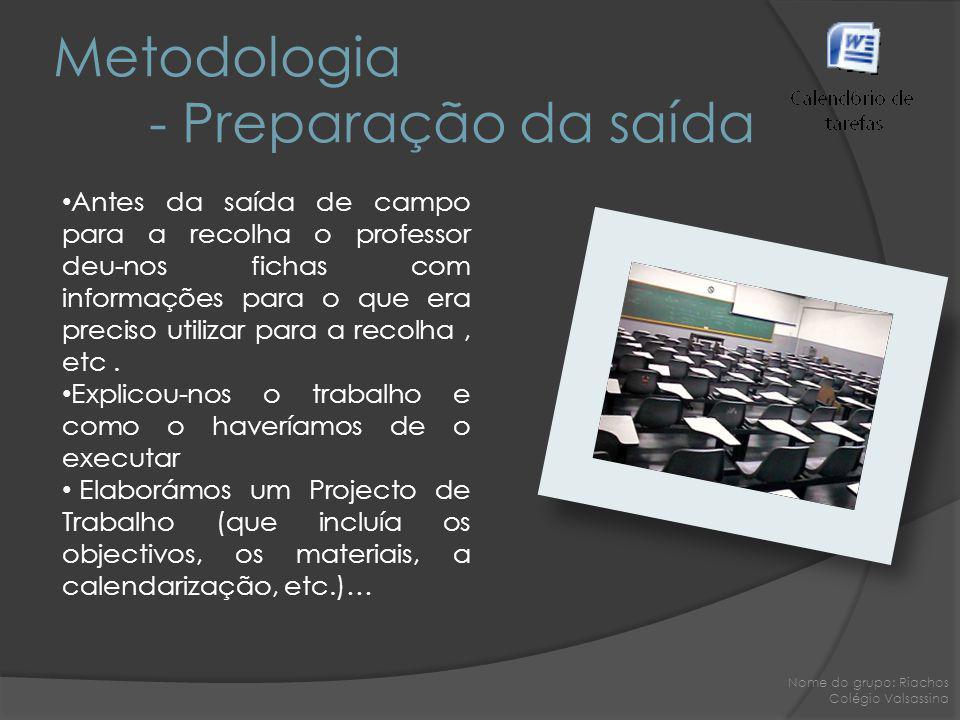Metodologia - Preparação da saída