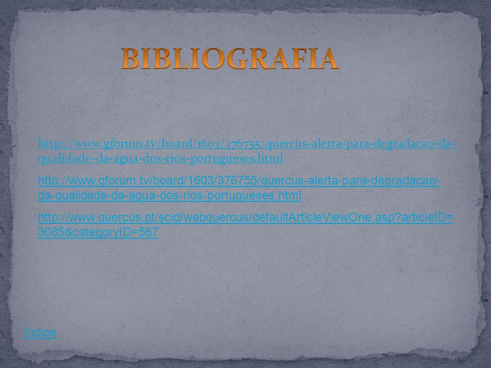 BIBLIOGRAFIA http://www.gforum.tv/board/1603/376755/quercus-alerta-para-degradacao-da-qualidade-da-agua-dos-rios-portugueses.html.