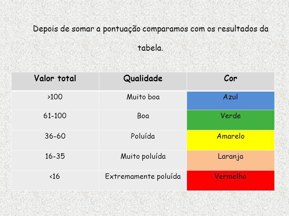 Depois de somar a pontuação comparamos com os resultados da tabela.