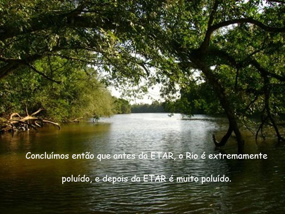 Concluímos então que antes da ETAR, o Rio é extremamente poluído, e depois da ETAR é muito poluído.
