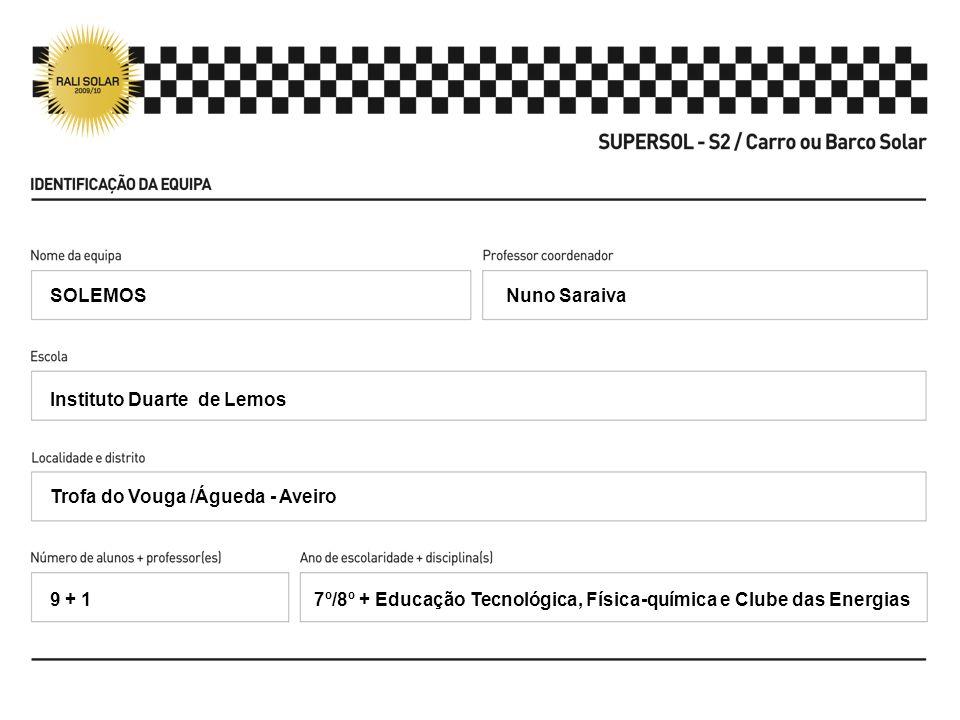 SOLEMOS Nuno Saraiva. Instituto Duarte de Lemos. Trofa do Vouga /Águeda - Aveiro. 9 + 1.
