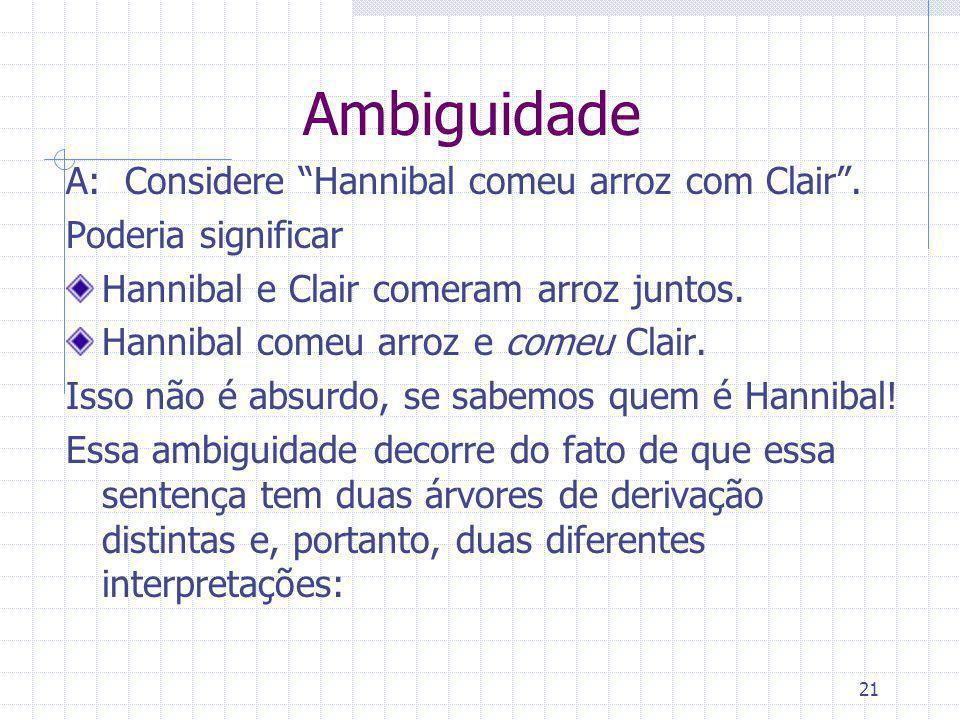 Ambiguidade A: Considere Hannibal comeu arroz com Clair .